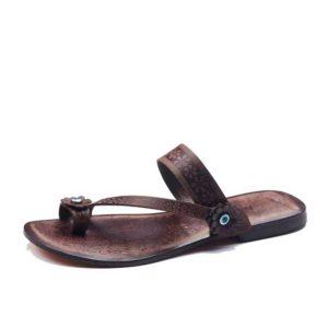 Flower Toe Thong Flip Flops-brown-sandals-left-248-1906