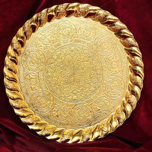 golden-handcrafted-copper-tray-round