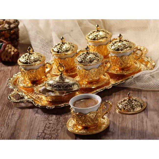 Golden Handmade Copper Turkish Coffee Set 650x650 - Golden Handmade Copper Turkish Coffee Set