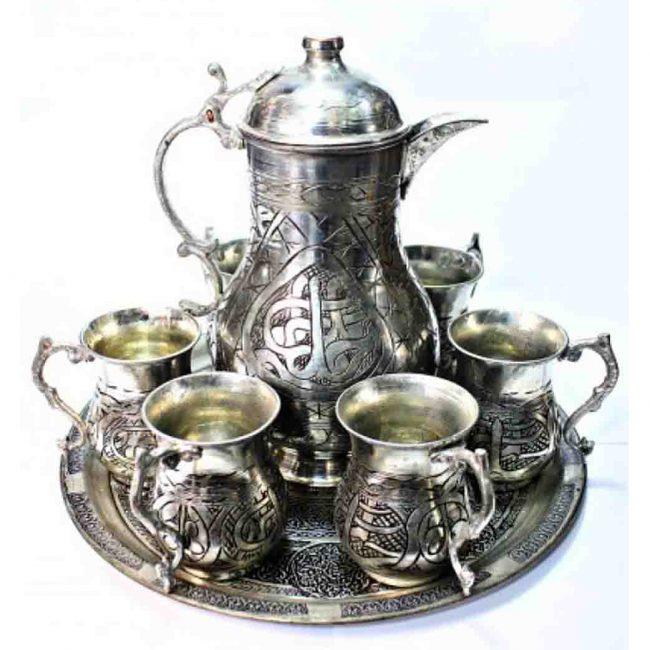 best copper Turkish coffee warmer,ibrik pitcher and mugs,Turkish copper tray,