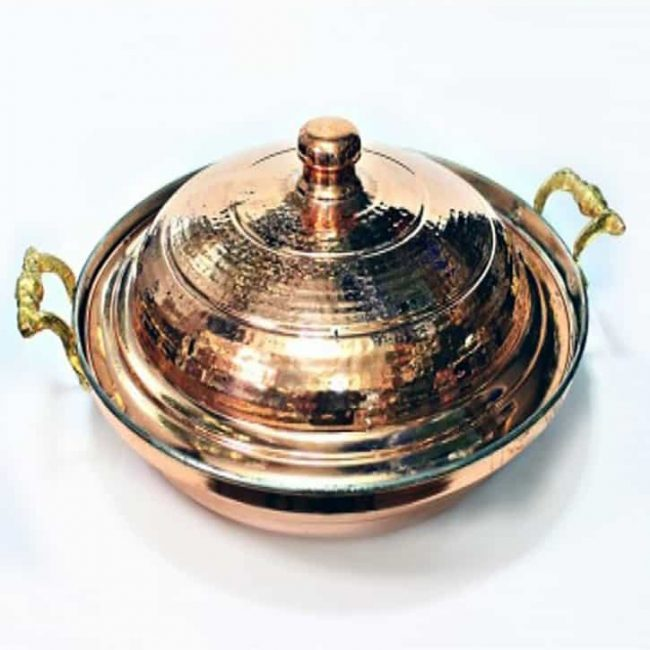 Buy Turkish medium size frying pan hammered copper