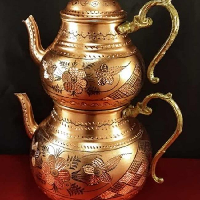 Turkish copper tea coffee sugar pots