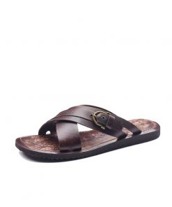 basic leather flip flops 1 247x296 - Basic Leather Flip Flops For Men