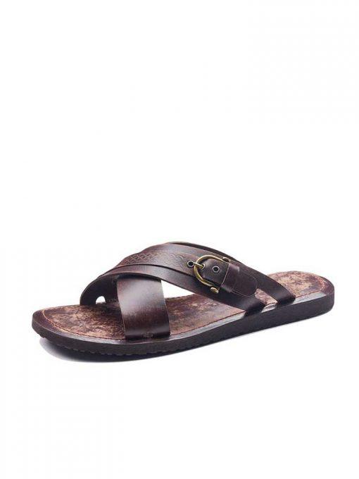 basic leather flip flops 1 510x680 - Basic Leather Flip Flops For Men