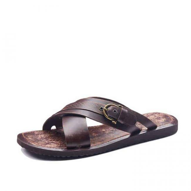 mens leather slides sandals