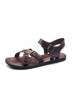 basic metallic detail leather sandals 1 247x296 - Basic Metallic Detail Leather Sandals