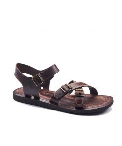 basic metallic detail leather sandals 2 247x296 - Basic Metallic Detail Leather Sandals - 45, Brown