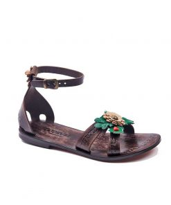 big flower leather sandals women 1 247x296 - Big Flower Leather Sandals