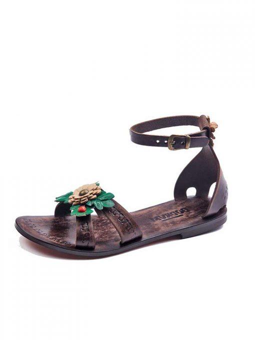 big-flower-leather-sandals