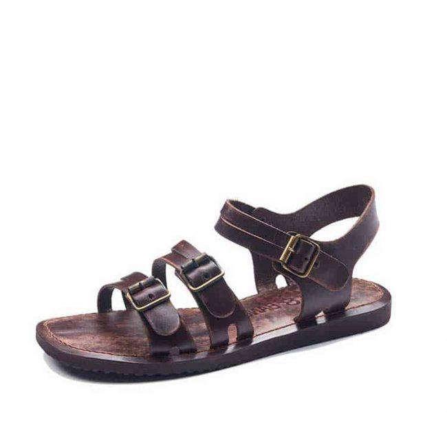 bodrum sandals men evaterm sol 1941 650x650 - Basic Brown Leather Sandals For Men