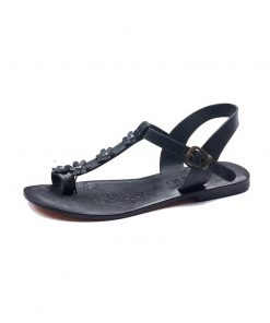boturkeyfamousfor bodrum sandals left 330 sol 1897 247x296 - Flower Strapped Black Sandals