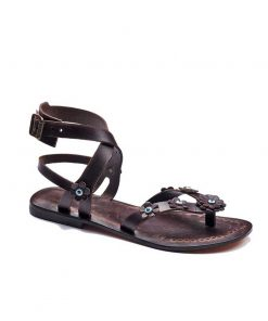 brown flowers leather sandals women 1 247x296 - Brown Flowers Leather Sandals