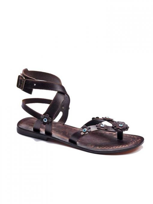 brown flowers leather sandals women 1 510x680 - Brown Flowers Leather Sandals