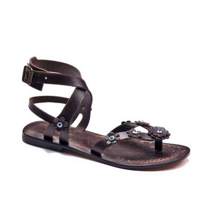brown flowers leather sandals women 1 650x650 - Brown Flowers Leather Sandals