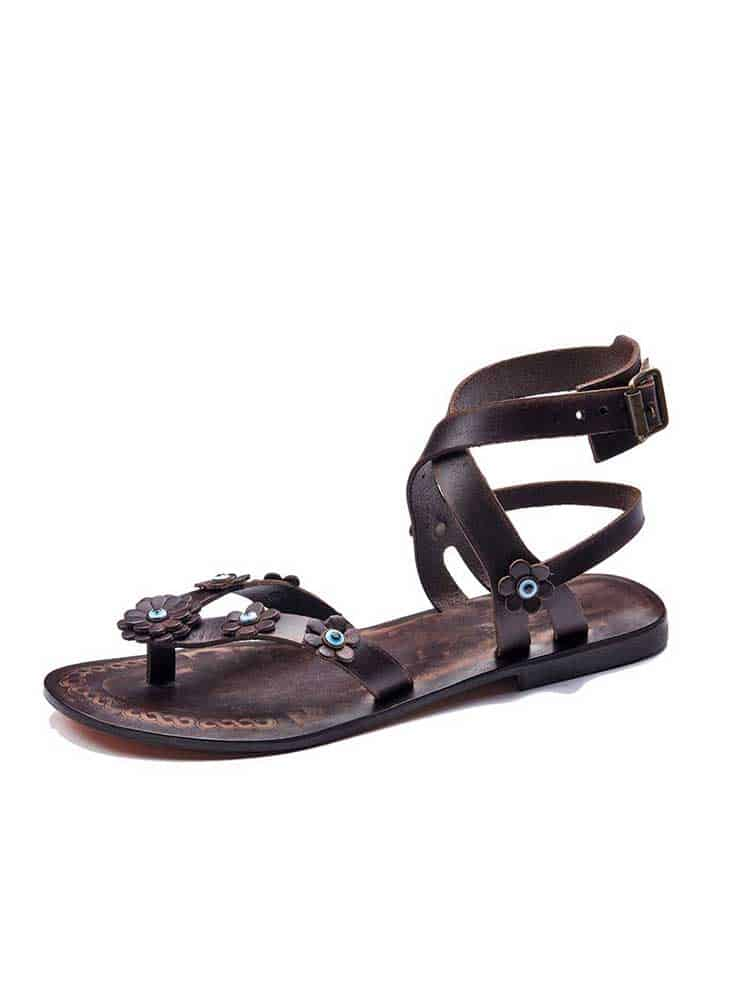2b9506330 Brown Flowers Leather Sandals