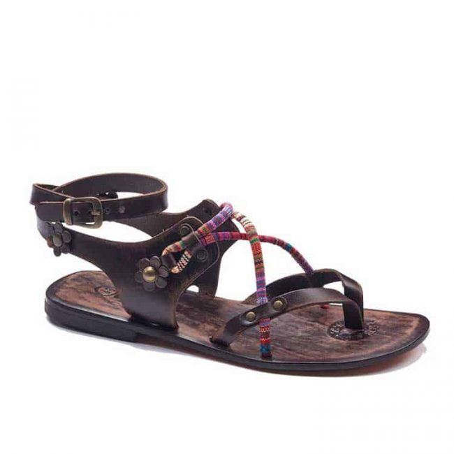 colorful strapped sandals women 1 650x650 - Colorful Needle Lace Leather Sandals For Womens