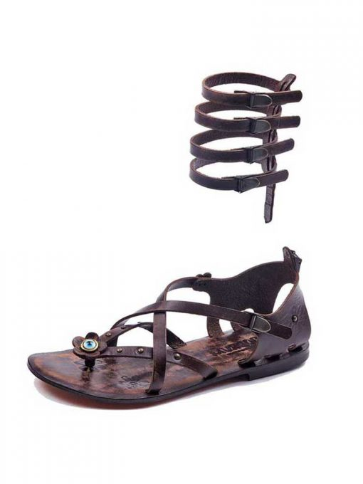 cross strapped leather gladiator sandals 2 510x680 - Cross Strapped Leather Gladiator Sandals