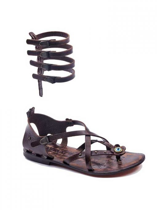 cross strapped leather gladiator sandals 4 510x680 - Cross Strapped Leather Gladiator Sandals