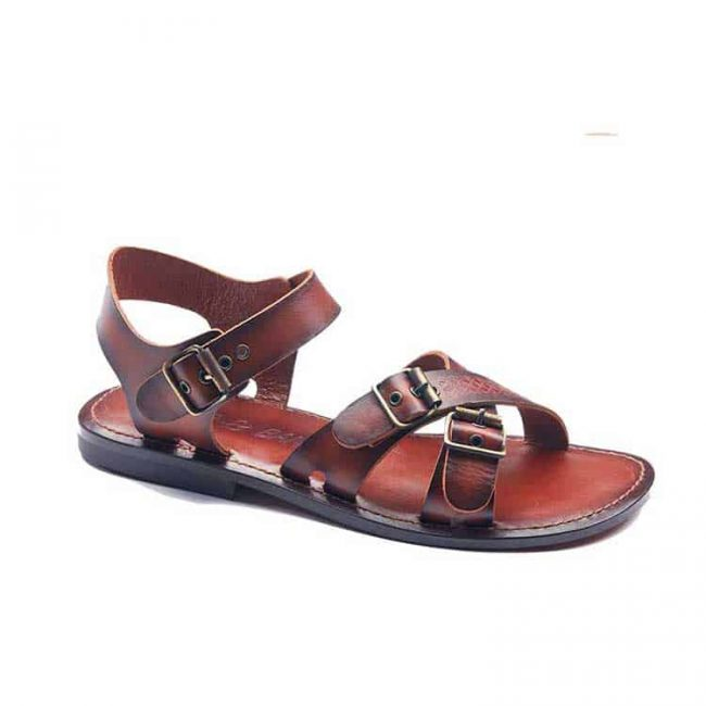 cross strapped leather sandals for men 2 1 650x650 - Mens Leather Sandals Cross Strapped Tan