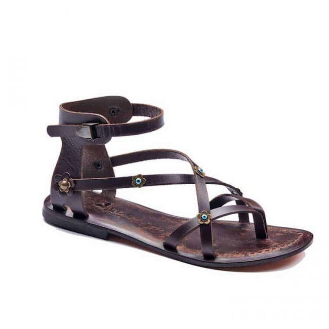 double cross strapped sandals women 1 650x650 - Double Cross Leather Strappy Sandals