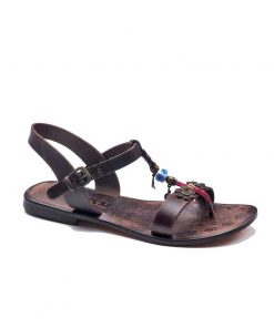 embossed toe thong brown sandals women 1 247x296 - Embossed Toe Thong Brown Sandals