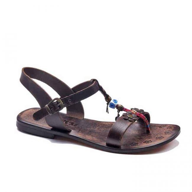 embossed toe thong brown sandals women 1 650x650 - Embossed Toe Thong Brown Leather Sandals
