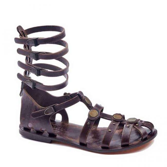 gladiator sandals evaterm sag 2028 650x650 - Leather Strapped Gladiator Sandals