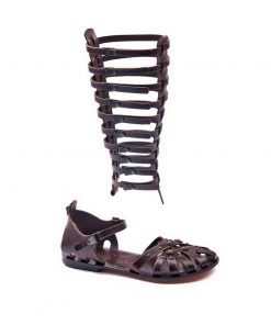 gladiator sandals evaterm sag 2032 247x296 - Strapped Metallic Leather Gladiator Sandals