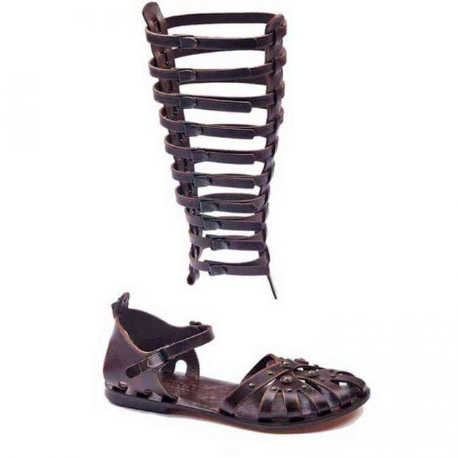 gladiator sandals evaterm sag 2032 650x650 - Strapped Metallic Leather Gladiator Sandals
