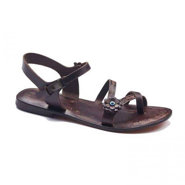 strapped and blue detail sandals women 2 650x650 - Strapped And Blue Detail Leather Sandals