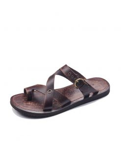 toe thong buckle leather flip flops for men 1 247x296 - Toe Thong Buckle Leather Flip Flops For Men
