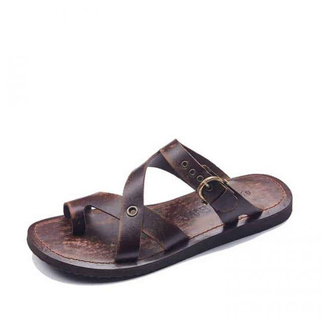 toe thong buckle leather flip flops for men 1 650x650 - Toe Thong Mens Leather Sandals Flip Flops