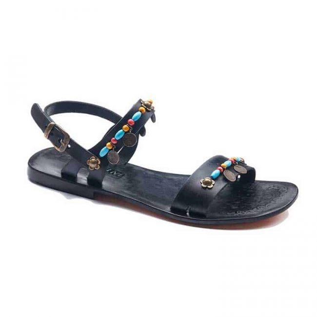 tugra blue beaded sandals women 1 650x650 - Tugra Blue Beaded Women Leather Sandals