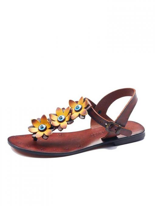 turkeyfamousfor bodrum sandals left sol 129 1905 510x680 - Yellow Flowers Leather Sandals