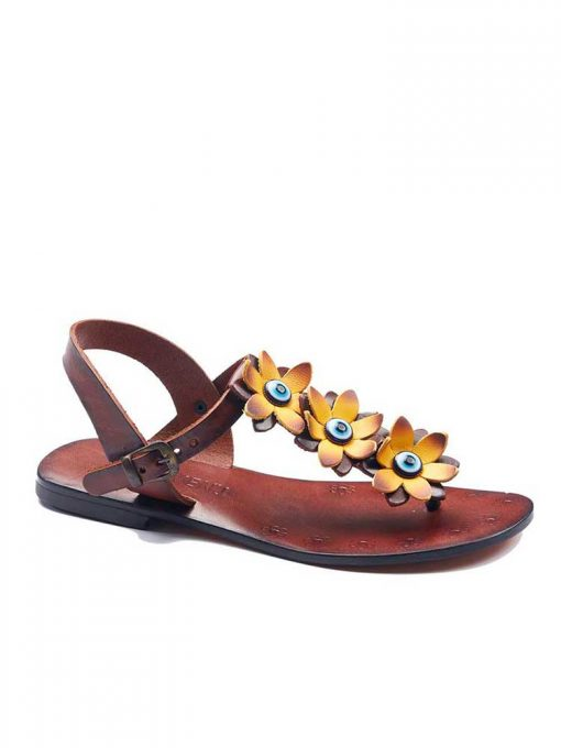 turkeyfamousfor bodrum sandals right 129 1905 510x680 - Yellow Flowers Leather Sandals