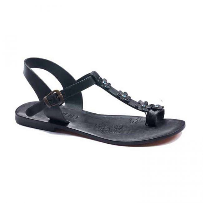 turkeyfamousfor bodrum sandals right 330 1897 650x650 - Flower Strapped Black Leather Women Sandals