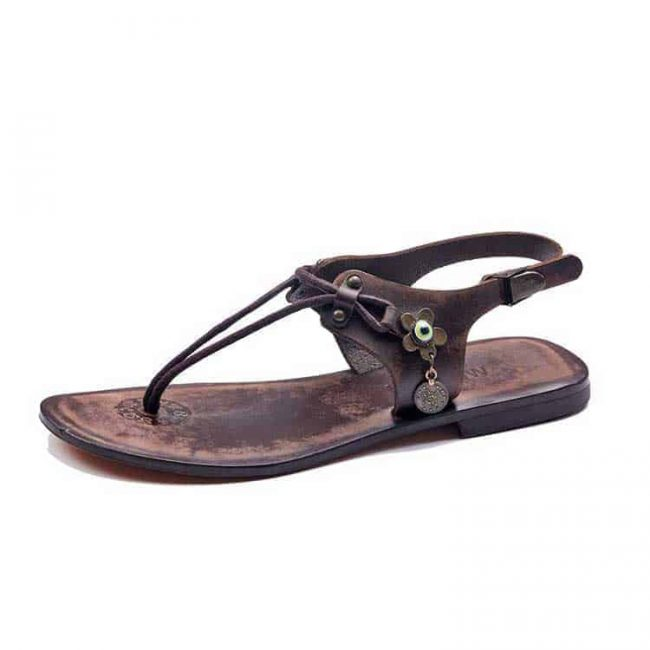 leather slides Sandals For Womens