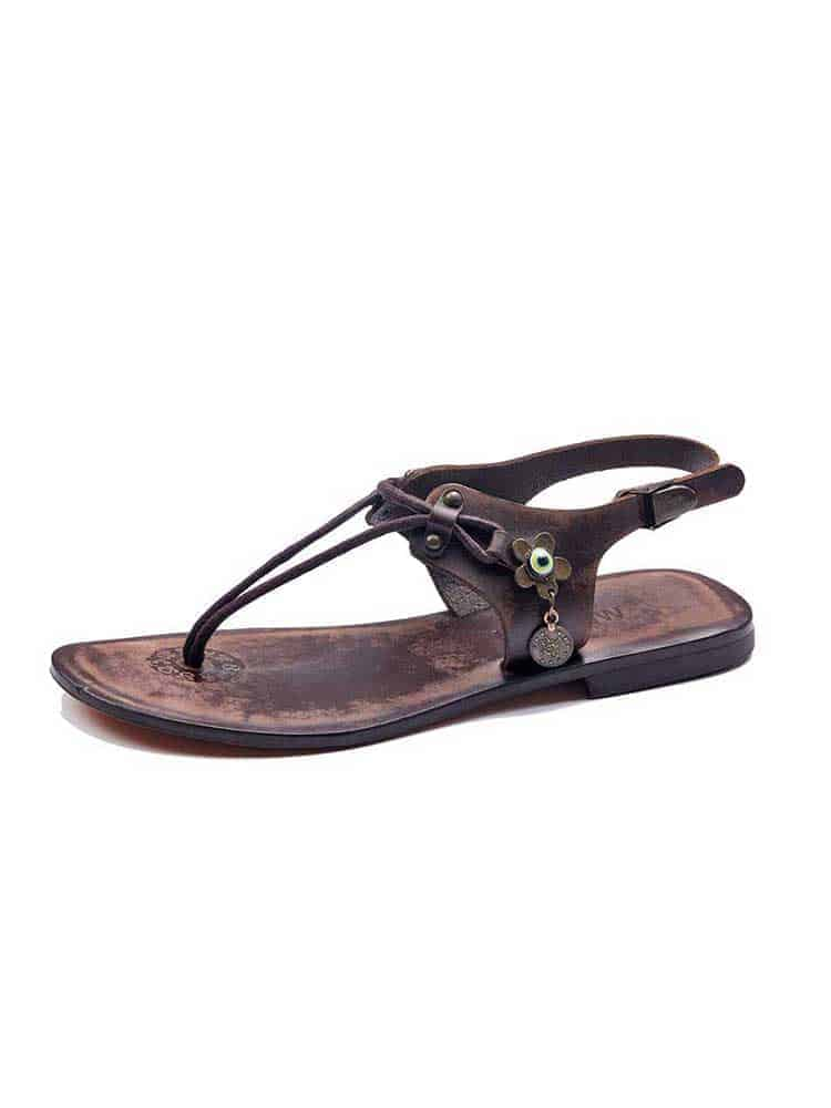 49bc8d222 Leather Strapped Brown Sandals