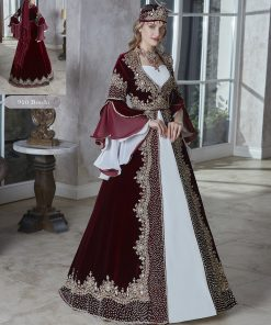 burgundy long flounce sleeve elegant evening long wedding party kaftans evening gown dresses 2020