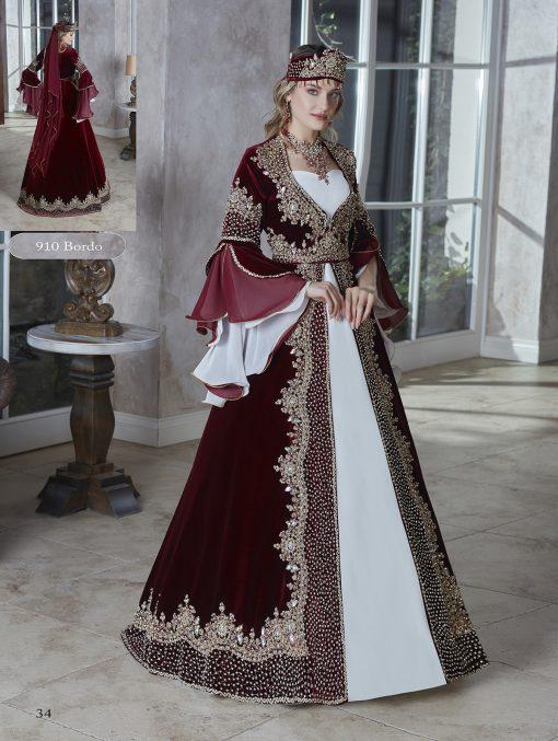 burgundy long flounce sleeve elegant evening long wedding party kaftans evening gown dresses 2020