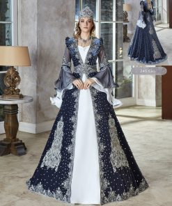 turkish traditional luxury tall velvet long frill sleeve kaftan dress set with accessories