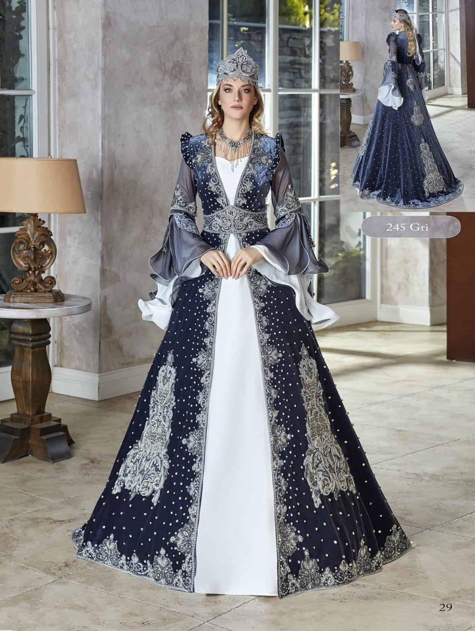 turkish traditional luxury tall velvet long frill sleeve kaftan dress set with accessories