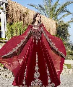 Elegant red prom dresses gowns 1 247x296 - Bridal Red Kaftan Set