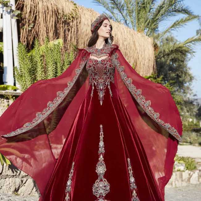 Elegant red prom dresses gowns 1 650x650 - Bridal Red Kaftan Set