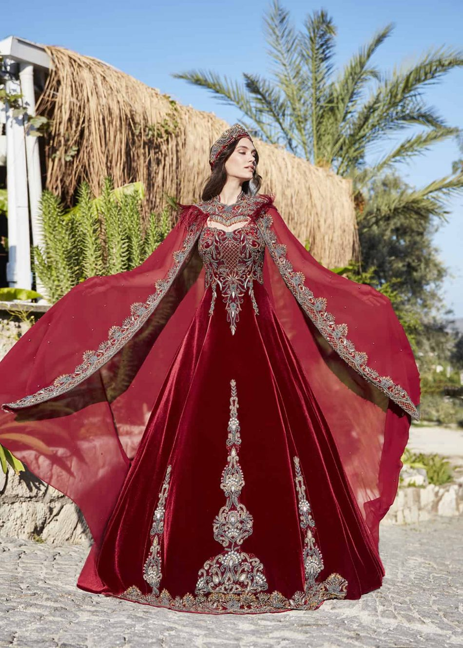 Elegant red prom dresses gowns 1 950x1330 - Bridal Red Kaftan Set