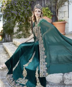 Emerald maxi evening dresses for wedding 1 247x296 - Princess Green Kaftan Set