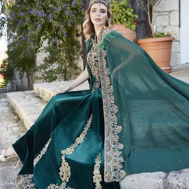 Emerald maxi evening dresses for wedding 1 650x650 - Princess Green Kaftan Set