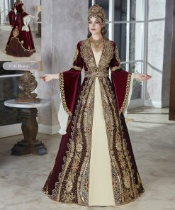 turkish Ethnic red velvet Floor Length Dress Party Wear Evening Wear dresses for women