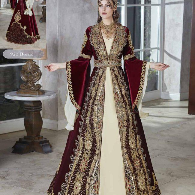 turkish Ethnic red velvet Floor Length Dress Party Wear Evening Wear dresses for women