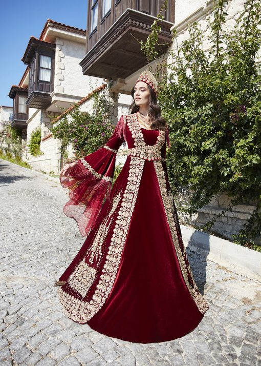 Red long sleeve formal prom dress 1 510x714 - Fascinating Red Kaftan Dress
